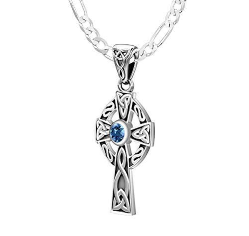 US Jewels Ladies Small 925 Sterling Silver Irish Celtic Knot Cross Genuine Blue Topaz November Birthstone 23mm Pendant 1.8mm Figaro Necklace, 20in
