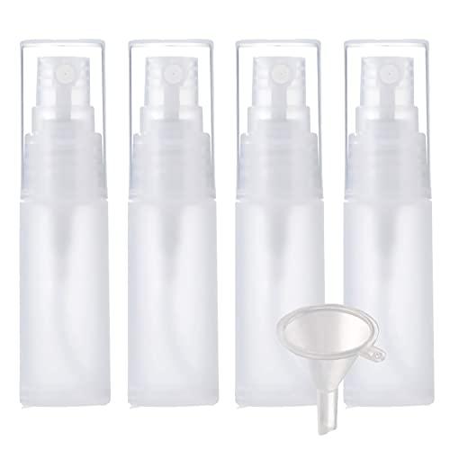 ZEOABSY 4 Piezas Botella pulverizadora Recargable de 50 ml de Niebla Fina & 1 Piezas Embudo, 50ml Mate Transparente portátil vacíos de plástico Botella de Spray de Perfume, para Viaje Doméstico