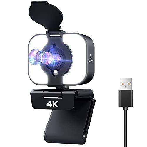 Webcam, Webcam USB avec Microphone et Couvercle de Confidentialité 4K UHD,pour Ordinateur Personnel, Mac, Ordinateur Portable, Webcam de « Plug and Play » pour Appels-Vidéo, Conférences, (Le Noir 1)
