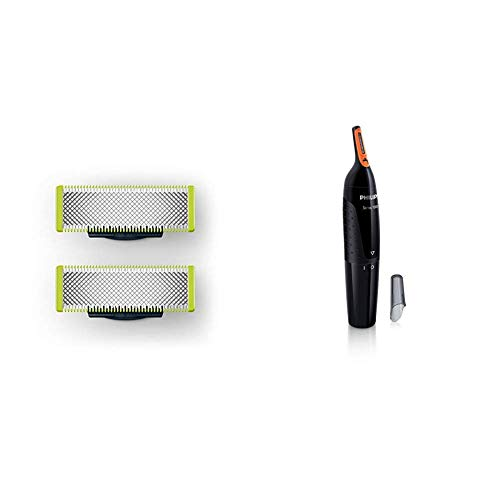 Philips QP220/50 Oneblade Replaceable Blade (Lime) & Philips NT1150/10 Nose Trimmer (Black)