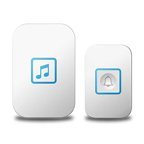 PrittUHU  Portero inalámbrico Botón táctil Impermeable LED Light Home Smart Inámbano inalámbrico Anillo de la Puerta Bell 300m Rango 60 Chimes (Color : White 1x1)