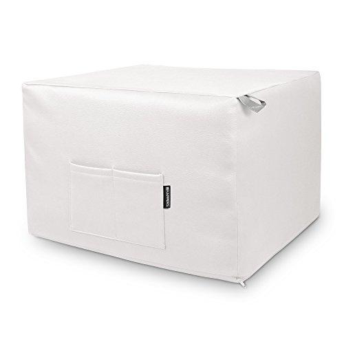 HAPPERS Puff Blanco Convertible en Cama cómoda con Funda de Polipiel incluida, Futón con Cama colchon, colchoneta Convertible en Puff o cómodo sillón Fabricado en...