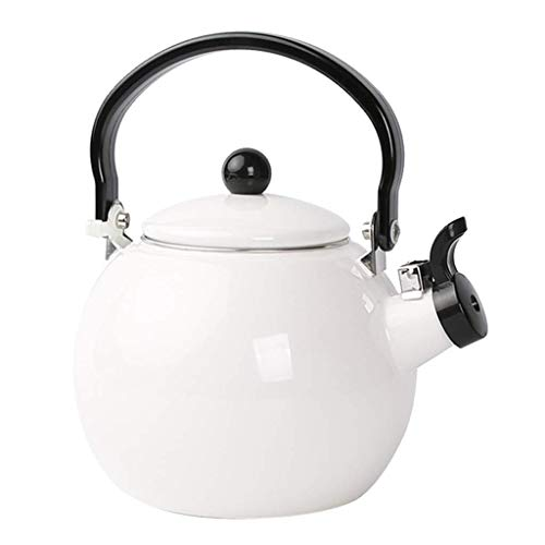 Tubayia White Enamel 1.5L Whistling Stovetop Kettle Teapot Teakettle with Anti-slip Anti-hot Grooved Handle for Home Camping