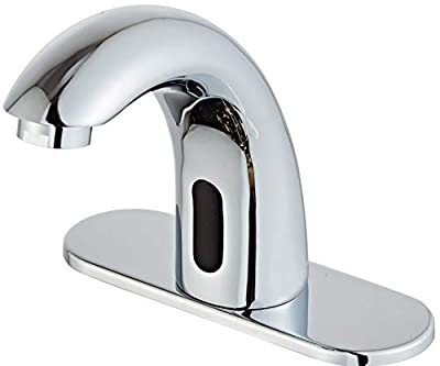 Luxice Automatic Faucet Bathroom Sink Faucet with Hole Cover Plate, Sensor Touchless Faucets, Hands Free Bathroom Water Tap with Control Box and Temperature Mixer, Chrome