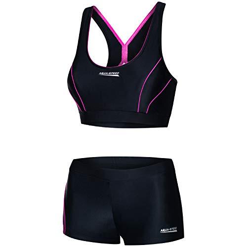 Aqua Speed Sport Bikini Set Damen | Zweiteiler schwarz-rosa Beachvolleyball | Bathing Suits | 2-Piece Swimsuit | sportliche Bademode | Schwimmbikini Mädchen | Gr. 38, 19 Black - Pink | Fiona