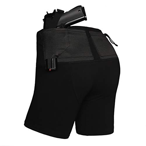 Lilcreek Women's Concealment Shorts, Gun Holster Shorts/Briefs for Concealed Carry, Concealment CCW Clothing with Two Pistol Pockets BlackSmall
