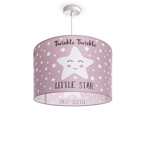 Paco Home Luminaria Infantil De Techo LED Suspendida Dormitorio Infantil Estrella E27, Pantalla de lámpara:Rosa (Ø45.5 cm), Tipo de lámpara:Lámpara Colgante Blanco