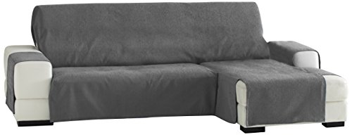 Eysa -Zoco Fundas de Sofa Prácticas, Chaise Longue 240 cm, derecha Vista Frontal, Color Gris