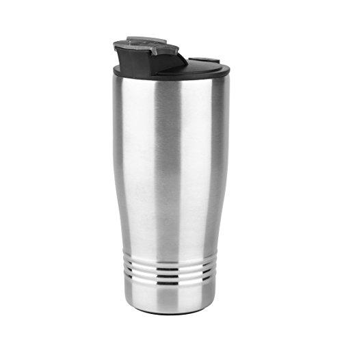 Emsa 1751401600 Isolierbecher, Mobil genießen, 400 ml, Trinkverschluss, Edelstahl/Schwarz, Senator Travel Cup