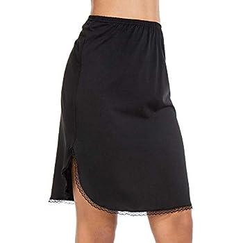 MANCYFIT Half Slips for Women Underskirt Short Mini Skirt with Floral Lace Trim Black Medium