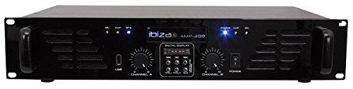 Ibiza AMP300USB-BT - Amplificador de sonorización (con entradas de línea, USB, Bluetooth 2 x 240 W), color negro