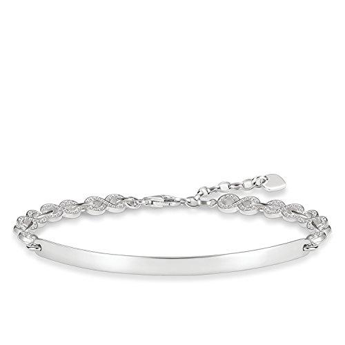 Thomas Sabo Damen-Armband Love Bridge 925 Sterling Silber Zirkonia weiß Länge von 15 bis 18 cm Brücke 5.4 cm LBA0043-051-14-L18v