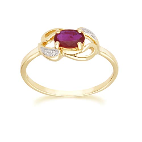 Yellow Gold Ruby Ring 9k Real Oval 6x4 mm And 4 Round Diamond Engagement Ring Size 6, and 6.75 Contemporary Jewelry Water Drop Design For Women July Birthstone Anniversary Band