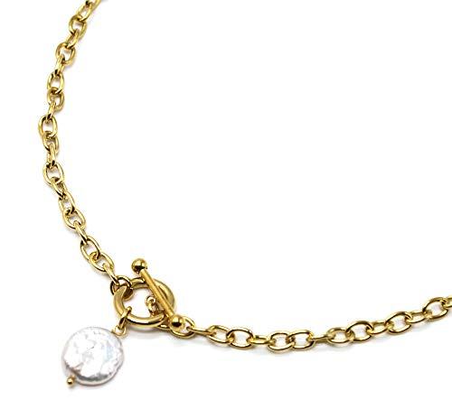 Oh My Shop CC3519 - Collar con cadena de eslabones de aro y barra de acero dorado con perla de agua dulce