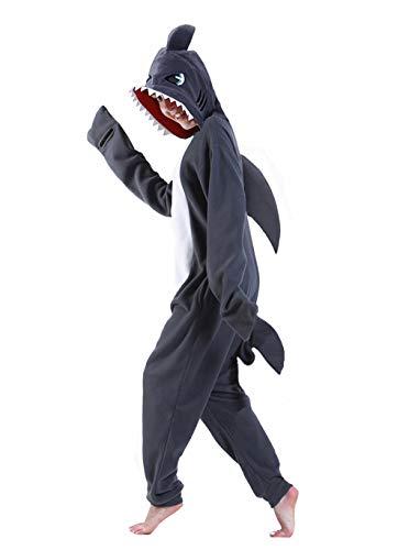 dressfan Tier Hai Kostüm Hai Jumpsuits Hai Pyjamas Cosplay Kostüm Weihnachten Halloween Schlafanzug für Unisex Erwachsene Jugendliche Kinder Grau XS