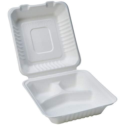 Amazon Basics - Recipientes de comida desechables, diseño de almeja, con bisagras, convertibles en abono ecológico y biodegradables, 3 compartimentos, 22 x 22 x 8 cm, 50 unidades