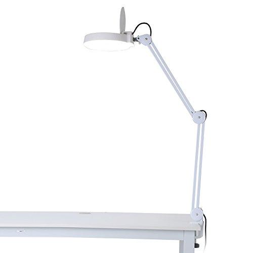 Lámpara lupa LED, lámpara lupa de mesa estética ajustable 8dioptrías aumento con luz lámpara de mesa con pinza para estética lectura Reparación Trabajo