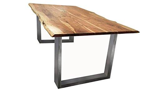SIT Tisch mit Baumkante Gestell silbern - 200 x 100 cm