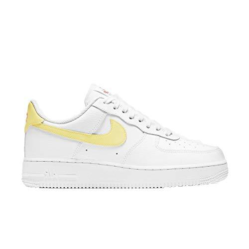 Nike Wmns Air Force 1 '07, Zapatillas de bsquetbol Mujer, White Lt Zitron BRT Mango White White White, 42.5 EU