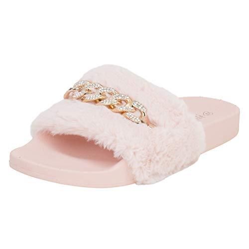 Fitters Footwear That Fits Damen Slide Paula Synthetik Slides mit Plüschfell und Kette Übergröße (44 EU, pink)