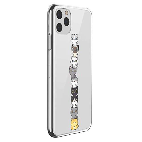 Suhctup Compatibile con Cover in Silicone per iPhone 11 PRO Max 6.5'',Custodia Stampa Gatti Carini Disegni in TPU Morbido,Sottile e Cristallo Trasparente Custodie Protettivo Gel Case (Gatta 1)
