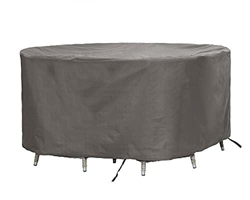 ATLANTIS Outdoor | Schutzhülle/Abdeckung für Gartenmöbel Set Rund Tisch + Stühle | Grau | ø 260 x 85 cm (L/BxH) | TÜV Rheinland Zertifiziert | Wasserabweisend & Waterproof (für Garten) | Abdeckhaube