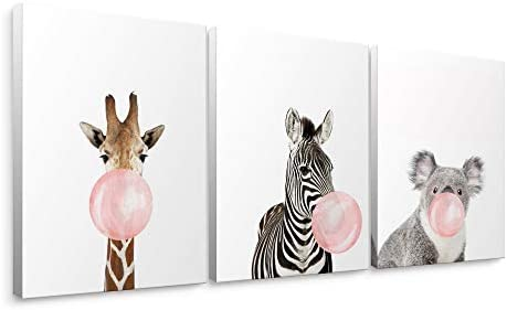 Niwo ART Giraffe Zebra Koala Pink Bubble Gum Animals Canvas Wall Art Home Decor Gallery Wrapped product image