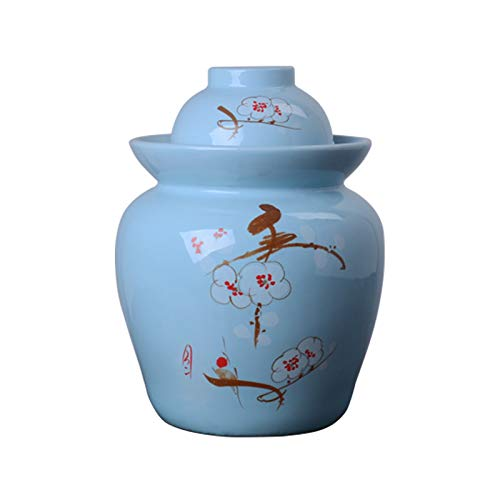 Yiyu Vorratsglas, Keramikgurkenglas, Kimchi-Topf Eingelegtes Gemüsekohl Versiegelter Behälter Sauerkraut-Vorratsglas Das Einfache 1.5L x (Color : A)