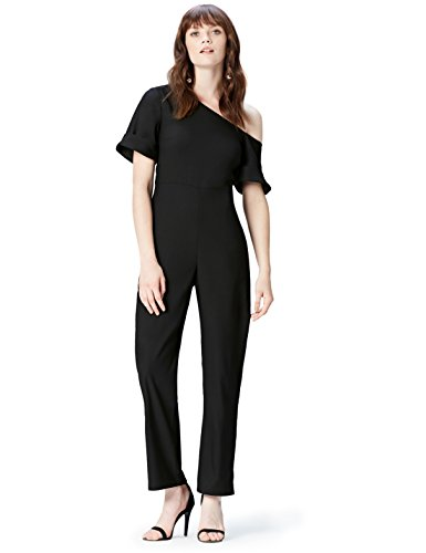 Marca Amazon - find. Mono Asimétrico para Mujer, Negro (Black Beauty 19-3911), 40, Label: M