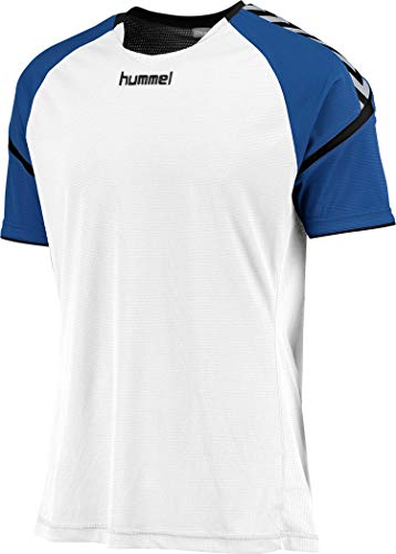 hummel Kinder Auth. Charge Short Sleeve Poly Jersey Trikot,weiß(Weiß/True Blue),140-152