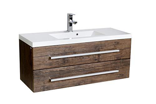 Quentis Badmöbel Genua, Breite 100 cm, Tiefe 39 cm, Waschbecken und Unterschrank, 2 Schubladen, Holzdekor antik, Waschbeckenunterschrank montiert