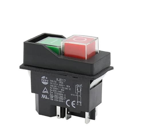 WEKOW KJD17F AC 250V 16A 5Pin Botón Pulsador Impermeable Interruptor Electromagnético Herramientas Eléctricas Magnéticas Interruptores De Seguridad Para Taladro De Máquina