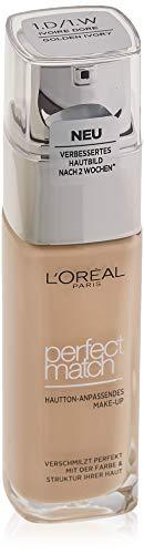 L'Oréal Paris Perfect Match Make-up 1.D/1.W Golden Ivory, flüssiges Make-up, hautton-anpassend, pflegt die Haut mit Hyaluron und Aloe Vera