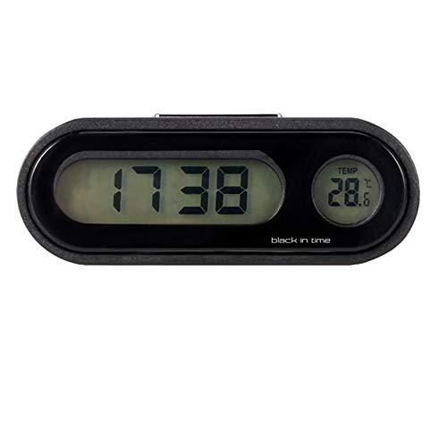 Reloj para automóvil, 2 en 1 Reloj para temperatura del automóvil Tablero de instrumentos universal universal Relojes digitales, Reloj de cuarzo Indicador de temperatura Reloj adhesivo, con pantall
