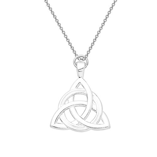FEELMEM Irish Celtics Jewelry Celtic Knot Triangle Vintage Pendant Necklace Amulet Irish Witchcraft Jewelry Celtic Triquetra Trinity Knot Good Luck Gift for Women Girl (White Irish)