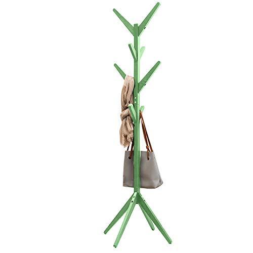 Bakaji Attaccapanni Appendiabiti di Design a Piantana da Terra in Legno di Pino con 8 Ganci Appendi Abiti e Base 4 Piedi Dimensione 58 X 58 X 175 cm (Verde)