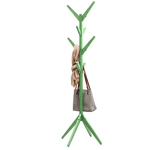 Bakaji garderobelijst ontwerp van grenenhout met 8 haken kledinghaken en 4 poten grootte 58 x 58 x 175 cm (groen)