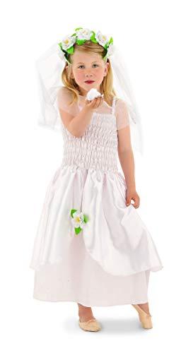 Folat 21860 Braut-Kostüm für Mädchen 2-teilig Größe 116-134, weiß