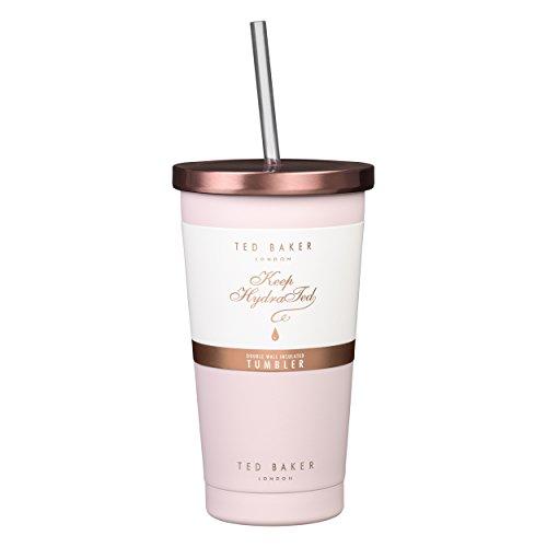 Ted Baker Tumbler und Stroh 480 ml, Edelstahl, Pink, 10,1 x 10,1 x 17,8 cm