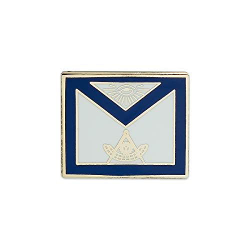 Past Master Apron Masonic Lapel Pin - [Blue & White][3/4'' Wide]
