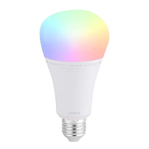 Zerodis Ampoule Intelligente, Milight E27 12 W LED Ampoule RGB + CCT WiFi Smart Phone APP Contrôle sans Fil Android et iPhone Système Variables Série 2700K-6500K