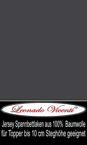 Leonado Vicenti - Jersey 100% Baumwolle Spannbettlaken Spannbetttuch extra geeignet für Topper mit 10cm Steghöhe (90 x 200 cm - 100 x 200 cm, Anthrazit)