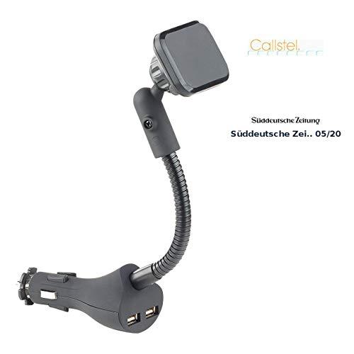 Callstel Telefonhalterung: Flexible Kfz-Magnet-Halterung mit 2 USB-Ports für Smartphones, 3,1 A (Universal-Schwanenhals-Halterung)