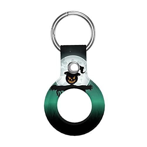 Funda de cuero para Apple Airtag Tracke Keychain, fondo de espantapájaros compatible con el buscador de etiquetas de aire