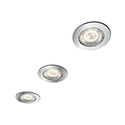 Philips myBathroom Dreaminess - Pack de 3 focos empotrables, redondo, LED, 3 x 4.5 W, color gris