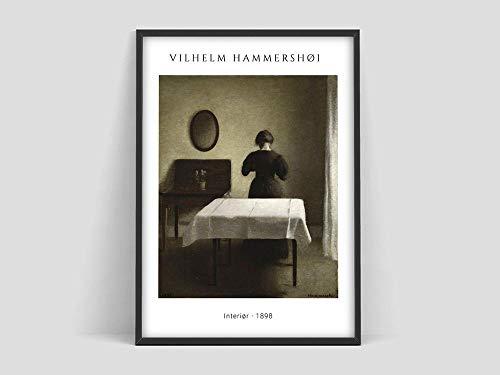 HJGB Hammershoi interior poster,Hammershoi Exhibition poster interior,Danish art,Family frameless decorative canvas painting Y 50x70cm