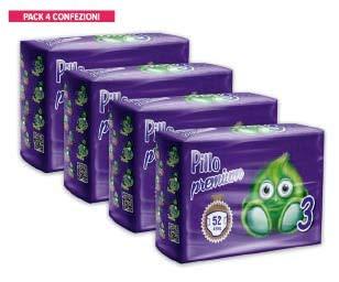 Pillo Premium Taglia 3 MIDI (4/9 KG), 4 cf da 52 pannolini in formato convenienza (TOTALE 208 PANNOLINI!) Ottima alternativa Italiana ad Huggies e Pampers