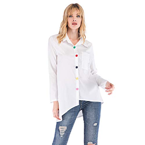 SALUCIA Hemd Damen Langarm Unifarben Asymmetrisch Hemdbluse mit Bunte Knöpfe Longbluse Langarmshirt Tunika Blusen Shirts Tops Oberteil