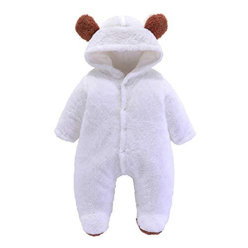 Haokaini Neugeborenenenen-Schneeanzug mit Bär-Motiv, Baumwolle/Fleece, Kapuze, Strampler, Overall, für Babys Gr. 68, Weiß/Rosa