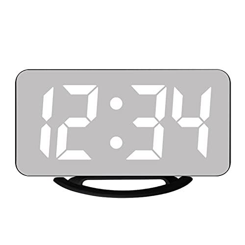 GDYJP Desktop Electronic Table Reloj Reloj Mirror Reloj Despertador DIRIGIÓ Reloj Snooze Time Pantalla Digital Dual USB Cocina casera (Color : A, Tamaño : One Size)